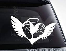 Heart Angel Wings Halo Car Window Vinyl Decal Sticker
