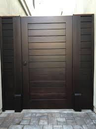 Custom Contemporary Wood Gate With Matching Panels By Garden Passages Wood Gate Backyard Gates Contemporary Gates