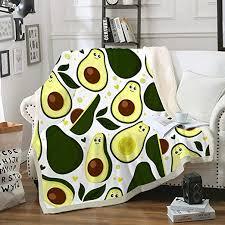 Amazon Com Avocado Blankets Green Throw Blankets Winter Sherpa Fleece Blanket Cartoon Avocado Fruits Decor Soft Warm Bed Couch Plush Blanket Throw For Kids Boys Girls Cartoon Throw 50 X60 Home Kitchen