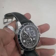 tissot men s black leather strap watch