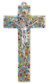 spo murano glass crucifix with