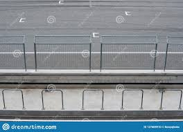 Empty Asphalt Road Circuit And Safety Fence With Start Position View From Grandstand Stock Photo Image Of Road Modern 127609910