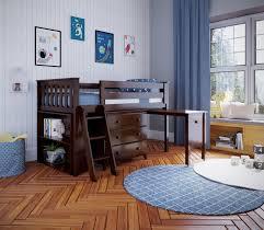 Jackpot Kids Loft Beds Windsor 2 Low Loft Bed In Espresso W Angle Ladder W 3 Drawer Dresser Bookcase Pull Out Desk Belfort Furniture Loft Beds