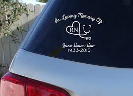 Nurse Memorial Car Decal In Loving Memory Rn Decal Nursing Etsy