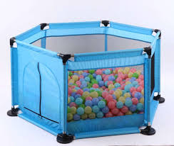Playpen Child Safety Fence With Mesh And Ocean Balls Cart Rollers