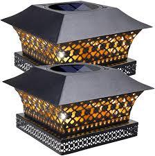 Siedinlar Solar Post Lights Outdoor Fence Deck Cap Light Solar Powered Metal Warm White Led Lighting W In 2020 Outdoor Post Lights Solar Post Lights Solar Fence Lights