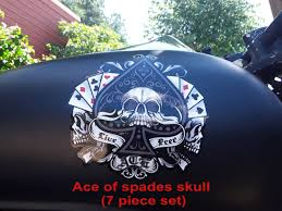 Ace Of Spades Skull Motorcycle Tank Fender Fork Decals 7 Piece Set