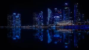 cool blue black city view wallpaper