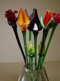 long stem blown glass flowers