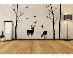Birch Tree And Deer Wall Decals Tree Nursery Wall Art Woodland Nursery Decor