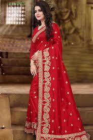 red saree with zoya art silk blouse