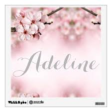Cherry Blossom Personalized Wall Decal Zazzle Com
