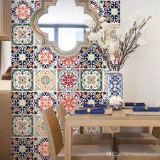 Colorful Flowers Pattern Tile Wall Stickers Kitchen Room Bathroom Anti Slip Wall Decals Home Decoration Cabinet Creative Posters Custom Wall Decals Custom Wall Sticker From Magicforwall 8 95 Dhgate Com
