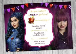Evie Mal Descendants Invitation Descendants Birthday Invitation