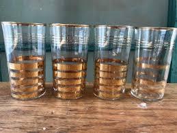 gold stripe drinking glasses vintage
