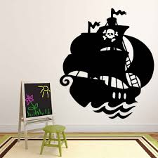 Pirate Ship Wall Decal Skull Flag Cool Style Nautical Theme Vinyl Window Stickers Kids Boys Bedroom Nursery Interior Decor M884 Wall Stickers Aliexpress
