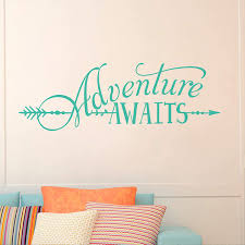 Amazon Com Battoo Adventure Awaits Wall Decal Quote Vinyl Lettering With Arrow Adventure Quote Travel Wall Decal Sticker 22 W 7 5 H Tribal Theme Room Decor Teal Kitchen Dining