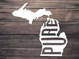 Amazon Com Pure Michigan Car Decal 4 5 Mitten State State Decal Michigan Home Yeti State Car Sticker Michigan Adventure Decal Mi Home Roots Handmade