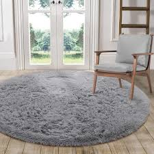 Amazon Com Lochas Luxury Round Fluffy Area Rugs For Bedroom Kids Nursery Rug Super Soft Living Room Home Shaggy Carpet 4 Feet Gray Home Kitchen