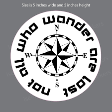 Compass Rose Not All Who Wander Are Lost Sticker Window Decal