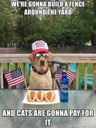 We Re Gonna Build A Fence Around The Yard And Cats Are Gonna Pay For It Dog For President 2016 Meme Generator
