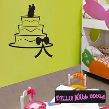 Wedding Cake Ribbons Bows Bride And Groom Celebrations Wall Decals Wall Quotes Wall Murals Cake4viii Swd