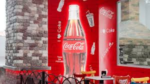 Lighted Up Silhouette Of Coca Cola Bottle With Custom Wall Decals
