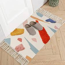 Amazon Com Livebox Cotton Area Rug Hand Woven Tufted Rug Tassel Throw Rug 2 X 3 Abstract Colorful Rug Door Mat For Porch Bathroom Living Room Laundry Kids Room Bedroom Kitchen Dining