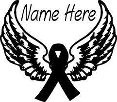 Small Cancer Ribbon Angel Wings Halo Love Memory Survivor Window Vinyl Decal