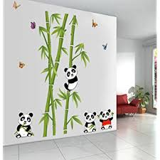 Amazon Com Let S Diy New Cute Panda Bamboo Wall Stickers Home Decor Living Room Diy Art Decals Removable Pvc Wall Sticker For Decoration Home Kitchen
