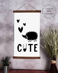 Wood Canvas Wall Hanging Cute Hedgehog Hearts Kids Room Decor Sign Art