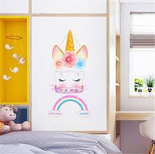 Colorful Unicorn Rainbow Wall Stickers For Kids Room Girls Bedroom Wall Decals Room Decoration Kids Nursery Room Decor Wall Stickers Aliexpress
