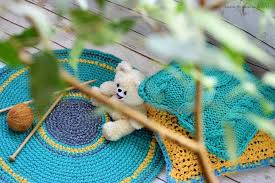 crochet circular rug green yellow