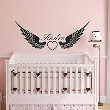 Beautiful Custom Made Personalised Name Angel Wing Vinyl Wall Sticker Art Bedroom Decals Grils Room D Nursery Wall Decals Mermaid Wall Decals Girls Wall Decals