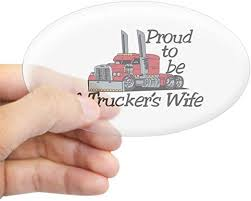 Amazon Com Cafepress Truckers Wife Sticker Oval Bumper Sticker Euro Oval Car Decal Home Kitchen