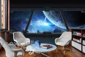 View Planets And Space From A Spaceship Window Art Wall Murals Wallpap Idecoroom