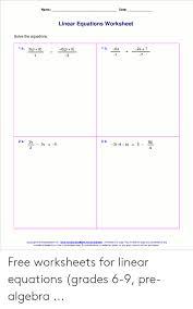 linear equations worksheet solve