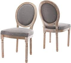 Amazon Com Farmhouse Dining Room Chairs French Distressed Bedroom Chairs With Round Back Elegant Tufted Kitchen Chairs Set Of 2 Gray Chairs