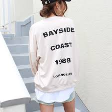 bag print big sweatshirt top wave mark