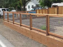 Wood And Hog Wire Fence Backyard Fences Fence Design Cheap Fence