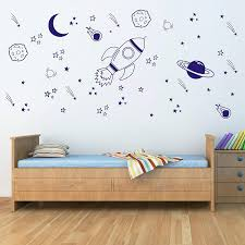 Amazon Com Space Wall Decal Nursery Outer Space Decor Rocket Decal Boy Room Decor Space Ship Decal Space Themed Room Planets Wall Decal For Baby Boys Nursery A37 Blue Home Kitchen
