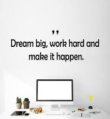 Vinyl Wall Decal Stickers Motivation Quote Words Work Hard Dream Big 2374ig Ebay
