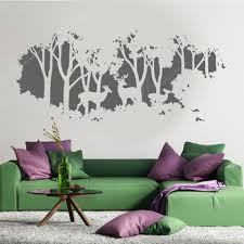 Creative Design Deer Family Forest Tree Wall Sticker Vinyl Home Decor Living Room Bedroom World Map Nature Wall Decal Mural 4163 Leather Bag