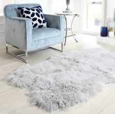 light grey mongolian sheepskin rug