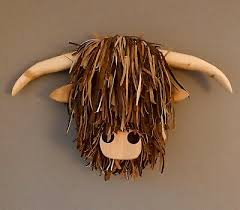 large wall mounted highland cow head