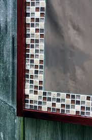 glass mosaic tile framed mirror tile