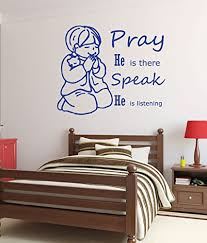 Amazon Com Christian Wall Decals Little Boy Praying Pray He Is There Speak He Is Listening Religious Wall Decals For The Childrens Room Or Playroom Boys Bedroom Decor Baby Boy Bedroom