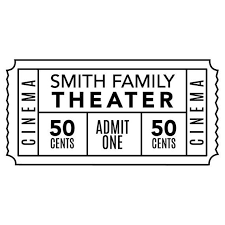 Personalized Family Movie Theater Ticket Decal Wall Decal Etsy In 2020 Family Movie Theater Personalized Family Family Movies