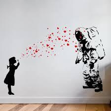 Wall Decal Astronaut Heart Bubble Girl Banksy Astronaut S Daughter Wall Sticker Banksy Style Street Art Interior Design 2138 Wall Stickers Aliexpress