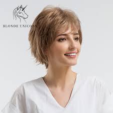 Blond Jednorozec 10 Cal Puszyste Krotkie Proste Wlosy Peruka Z